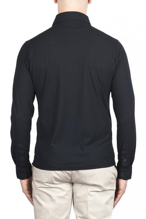 SBU 02052_2020SS クラシックロングスリーブネイビーブルーコットンクレープポロシャツ 01