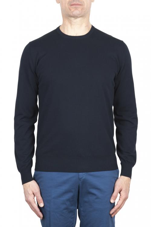 SBU 02053_2020SS Pull col rond bleu en pur coton 01