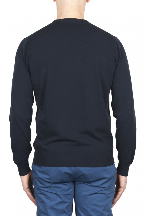 SBU 02053_2020SS Jersey azul con cuello redondo en puro algodón 01