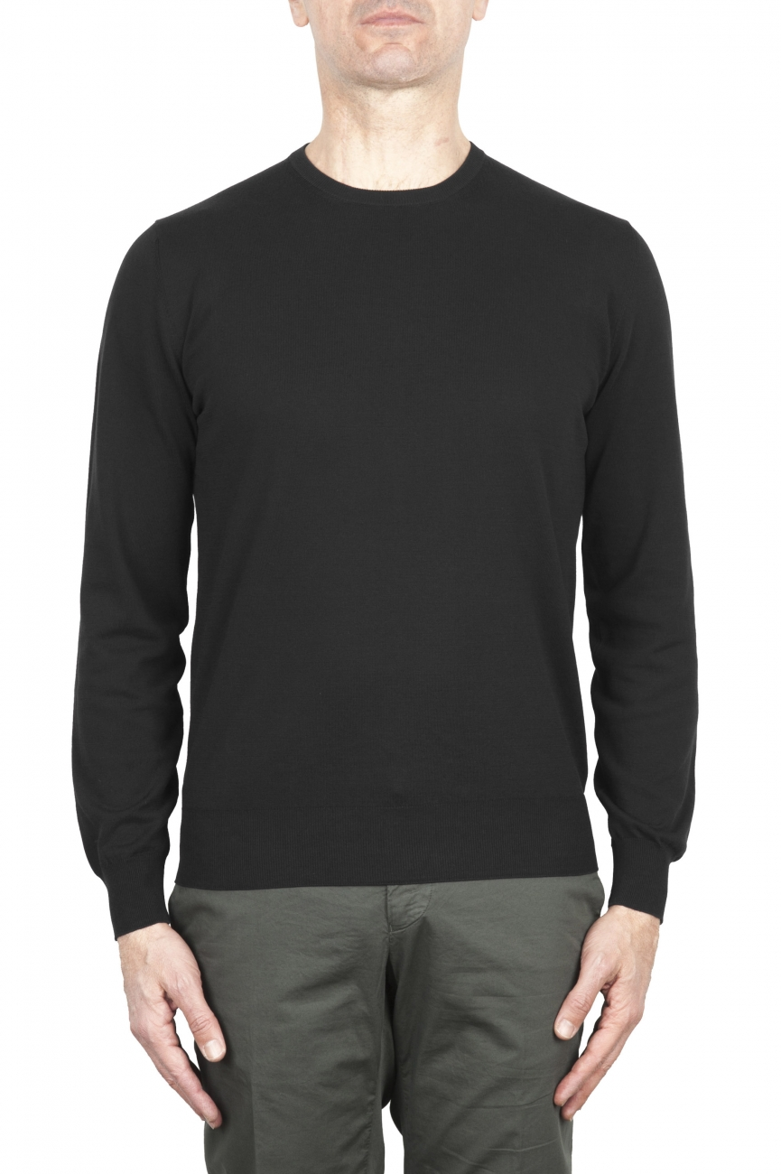 SBU 02055_2020SS ピュアコットンのブラッククルーネックセーター 01