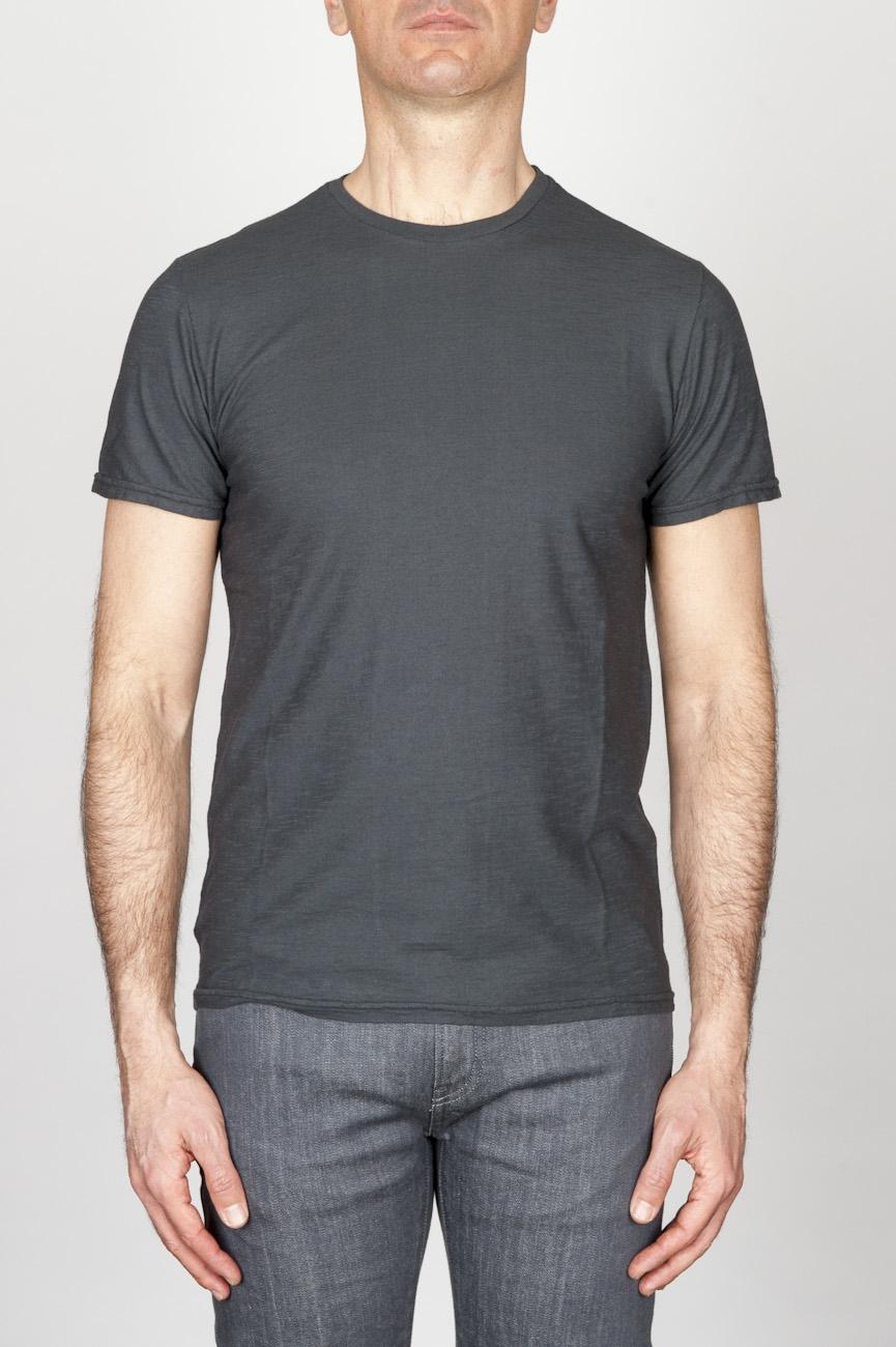 SBU - Strategic Business Unit - T-Shirt Girocollo Classica A Maniche Corte In Cotone Fiammato Grigia