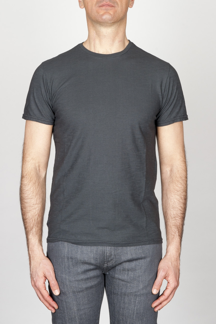 Classic Short Sleeve Flamed Cotton Round Neck Grey T-Shirt