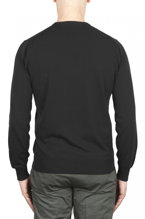 SBU 02055_2020SS Black crew neck sweater in pure cotton 01
