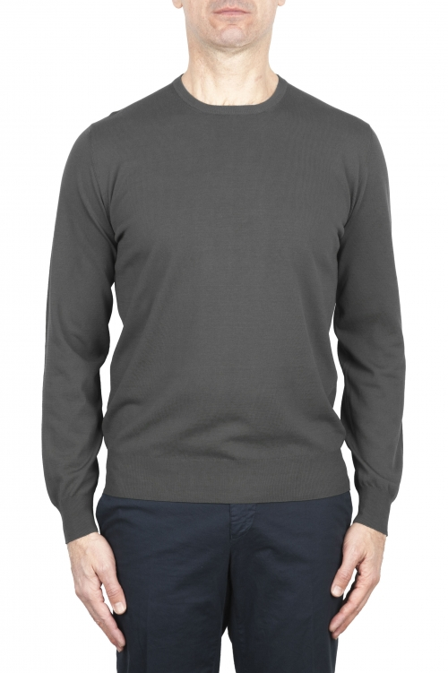 SBU 02066_2020SS Jersey gris con cuello redondo en puro algodón 01