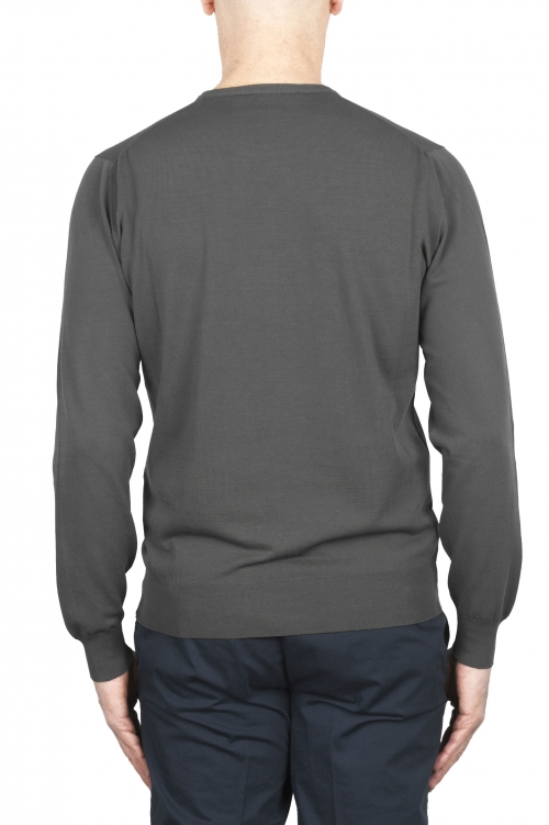 SBU 02066_2020SS ピュアコットンのグレーのクルーネックセーター 01
