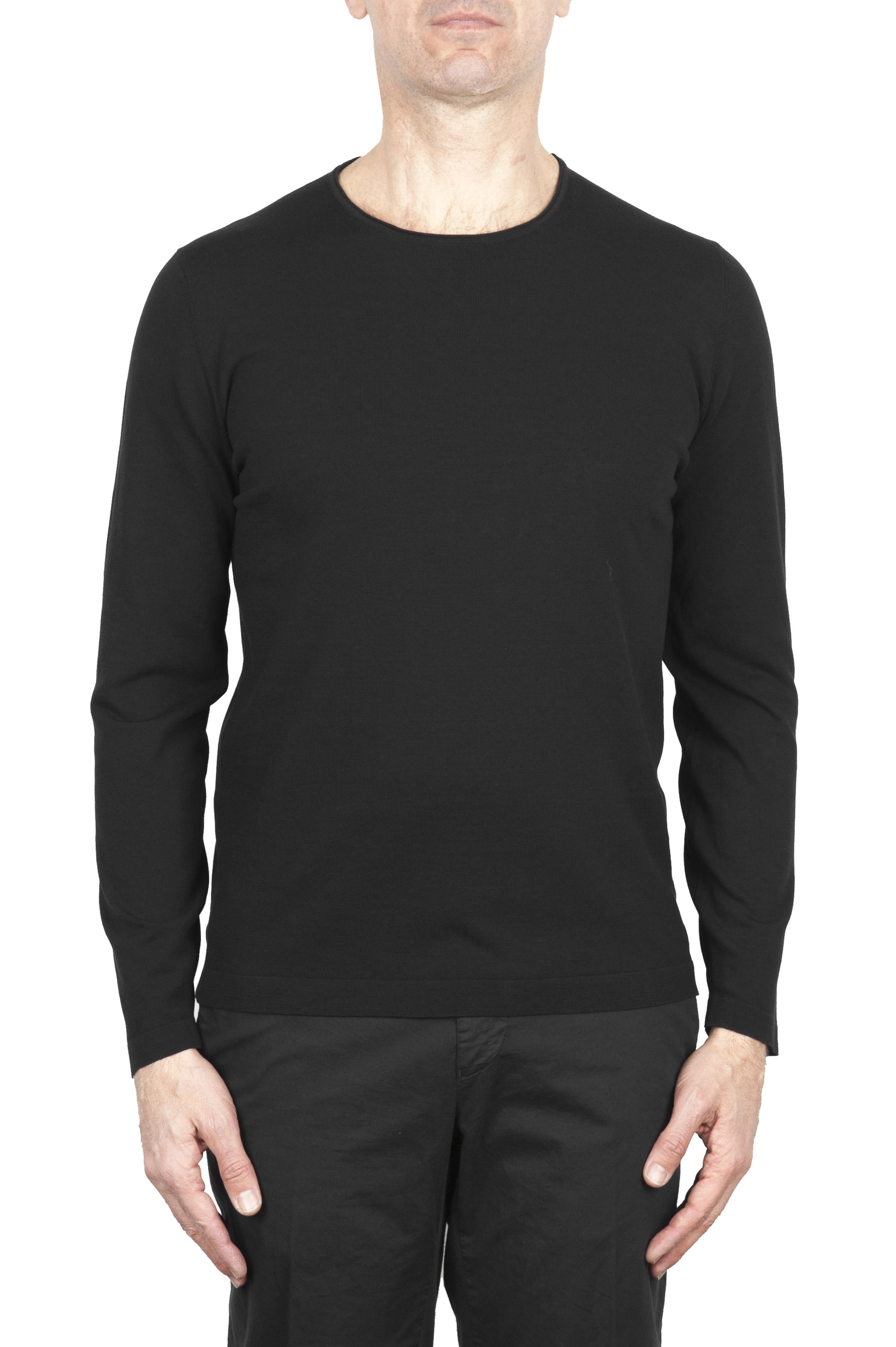 SBU 02067_2020SS Black crew neck tubular cotton sweater  01