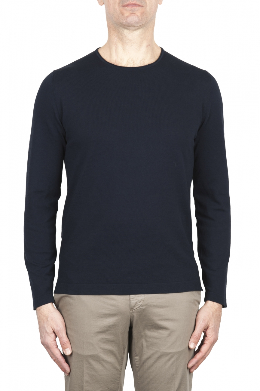SBU 02068_2020SS Blue crew neck tubular cotton sweater  01