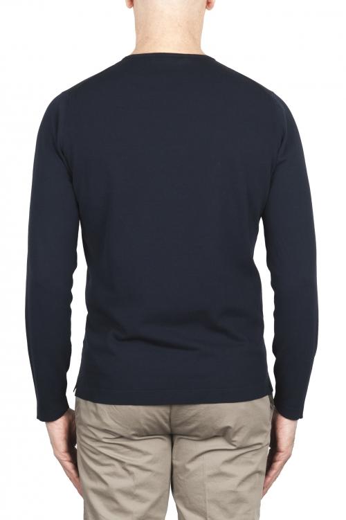 SBU 02068_2020SS Jersey tubular de algodón azul con cuello redondo 01