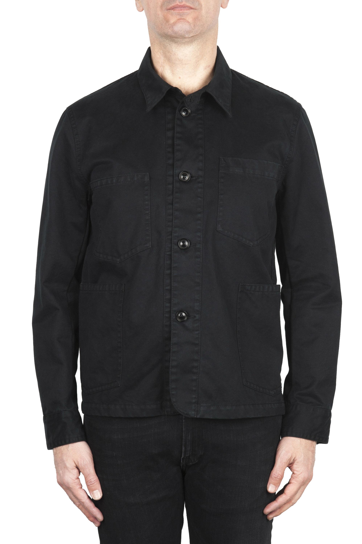 SBU 02069_2020SS Veste à poches multiples sans doublure en coton noir 01