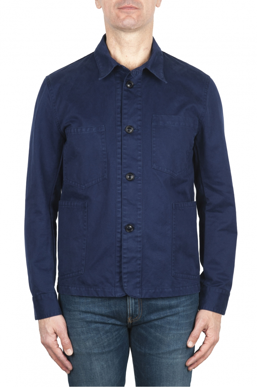 SBU 02070_2020SS Unlined multi-pocketed jacket in indigo cotton 01