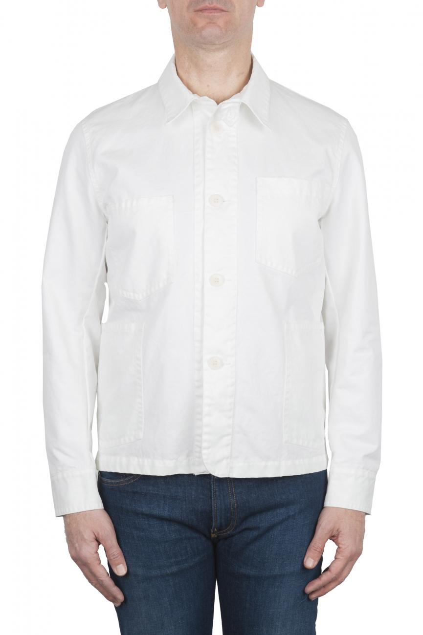 SBU 02071_2020SS Veste à poches multiples sans doublure en coton blanc 01