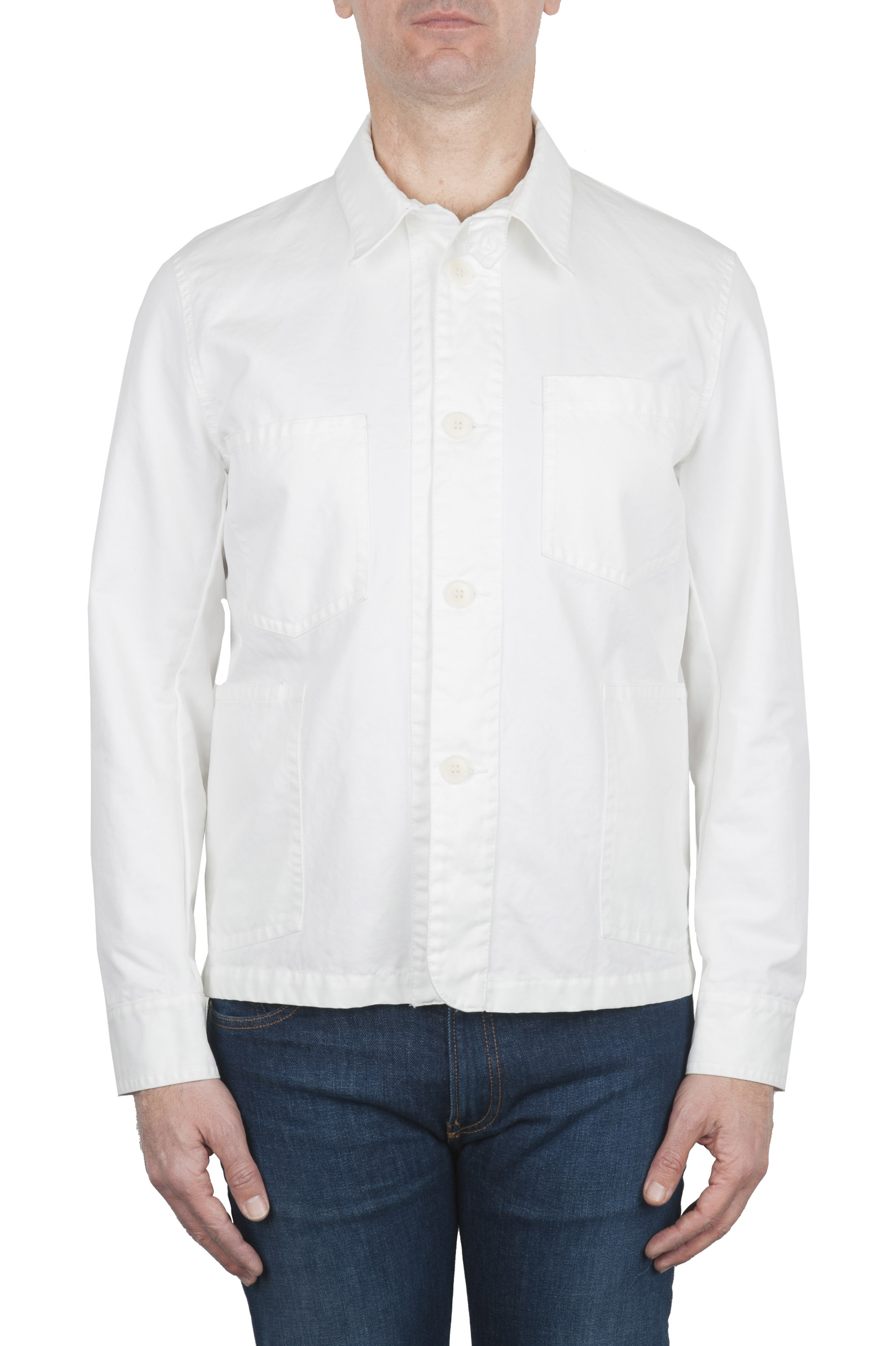SBU 02071_2020SS Unlined multi-pocketed jacket in white cotton 01
