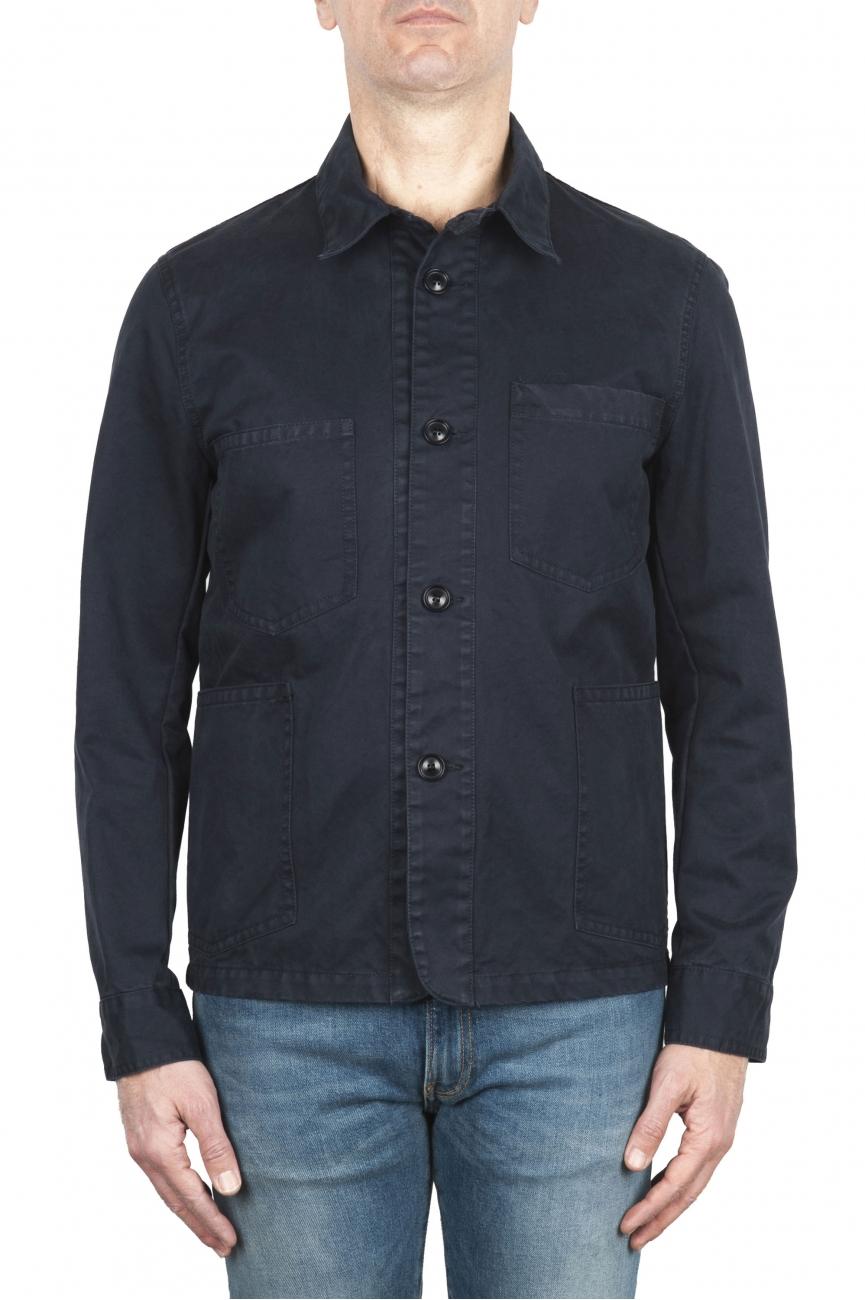 SBU 02072_2020SS Veste à poches multiples sans doublure en coton bleu 01