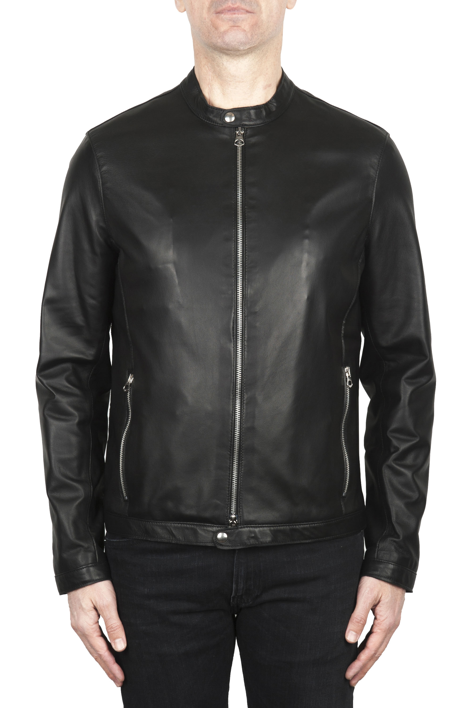 SBU 02075_2020SS Blouson moto en cuir noir 01