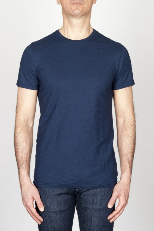 SBU - Strategic Business Unit - Classic Short Sleeve Flamed Cotton Round Neck Blue T-Shirt