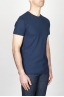 Classic Short Sleeve Flamed Cotton Round Neck Blue T-Shirt