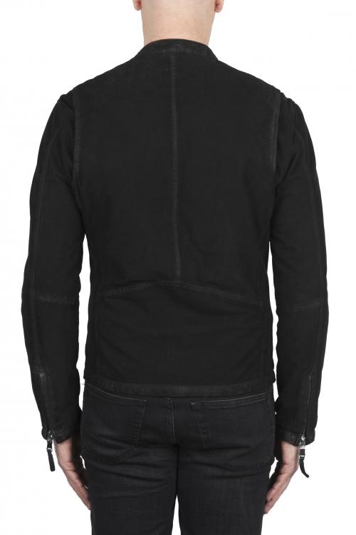 SBU 02077_2020SS Black suede leather jacket 01