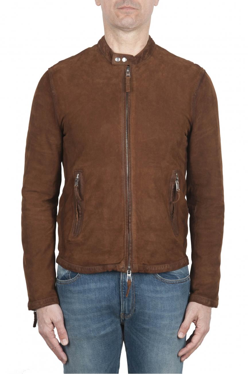 SBU 02078_2020SS Brown suede leather jacket 01