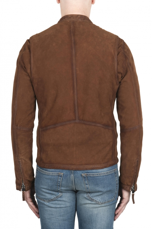 SBU 02078_2020SS Brown suede leather jacket 01