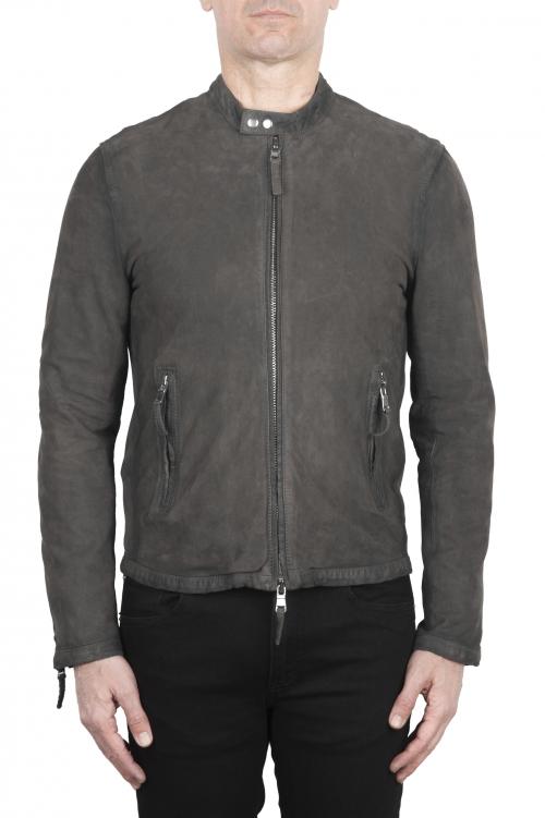 SBU 02080_2020SS Grey suede leather jacket 01