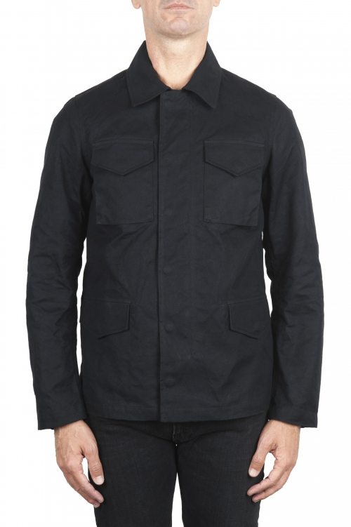 SBU 02081_2020SS Wind and waterproof hunter jacket in black oiled cotton 01