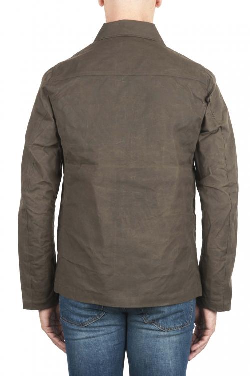 SBU 02082_2020SS Chaqueta cazadora impermeable y cortavientos en algodón engrasado verde 01