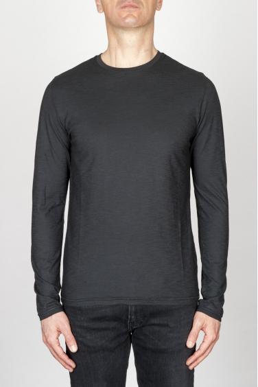 SBU - Strategic Business Unit - T-Shirt Girocollo Classica A Maniche Lunghe In Cotone Fiammato Nera