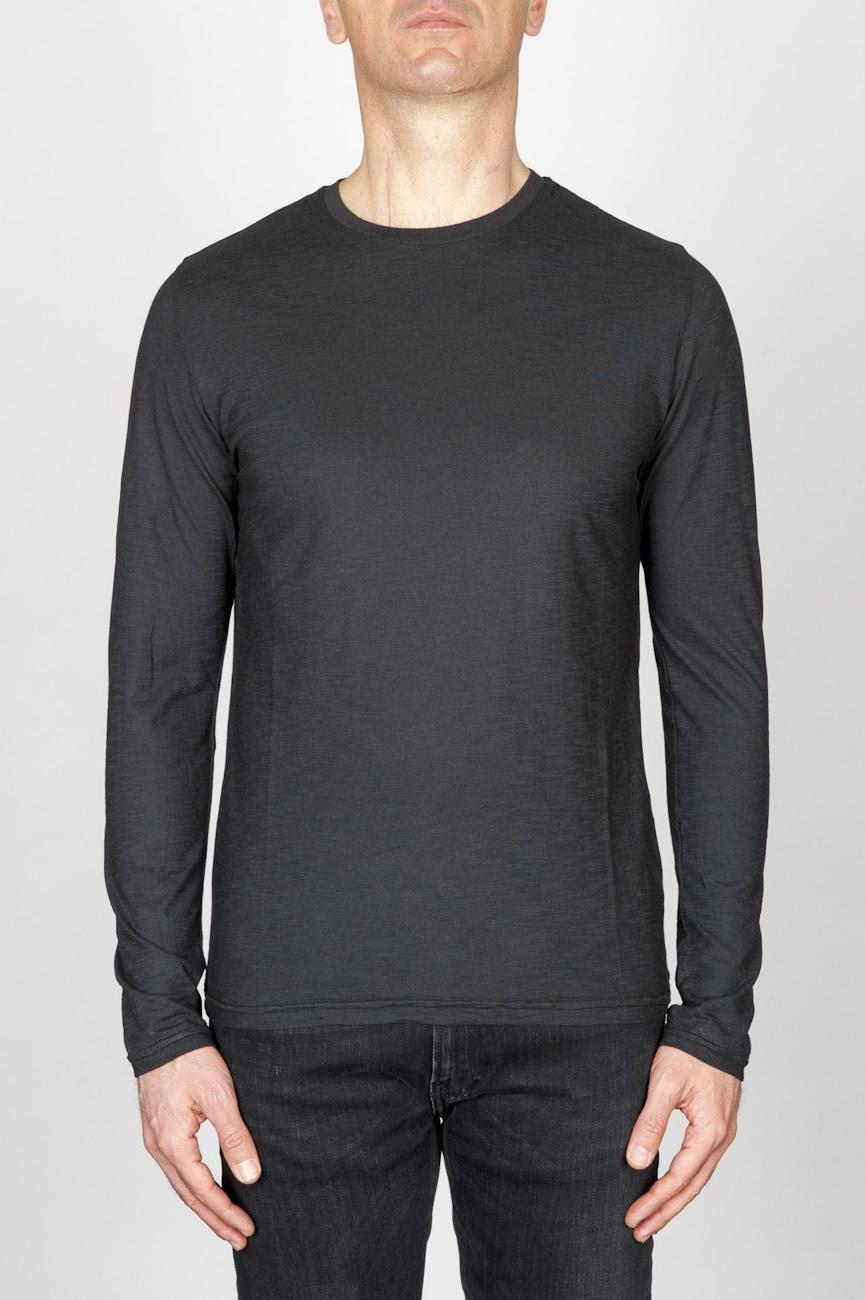 古典的な長袖のコットンラウンドネック黒Tシャツ
