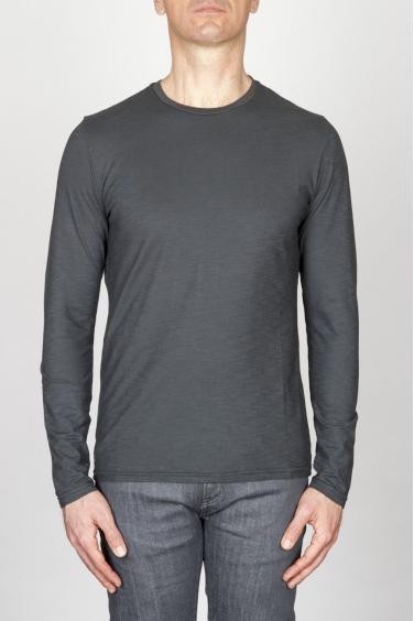 SBU - Strategic Business Unit - T-Shirt Girocollo Classica A Maniche Lunghe In Cotone Fiammato Grigia