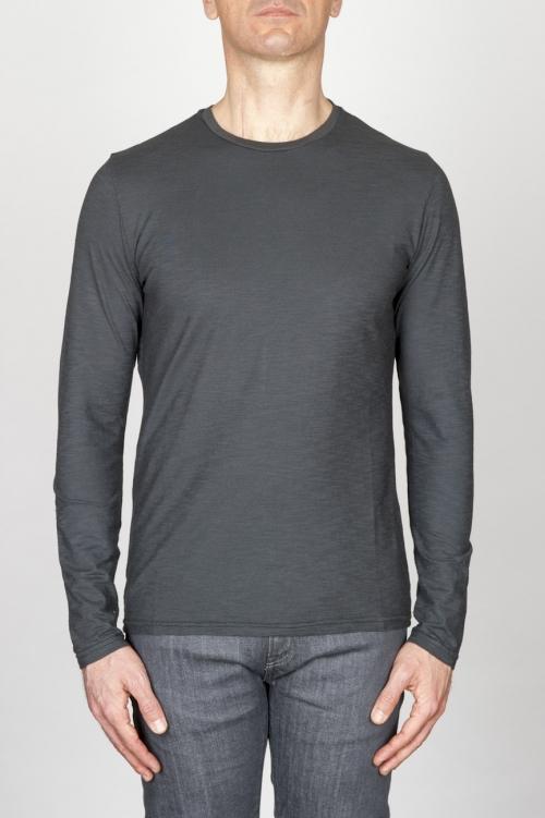 SBU - Strategic Business Unit - Classic Long Sleeve Flamed Cotton Round Neck Grey T-Shirt