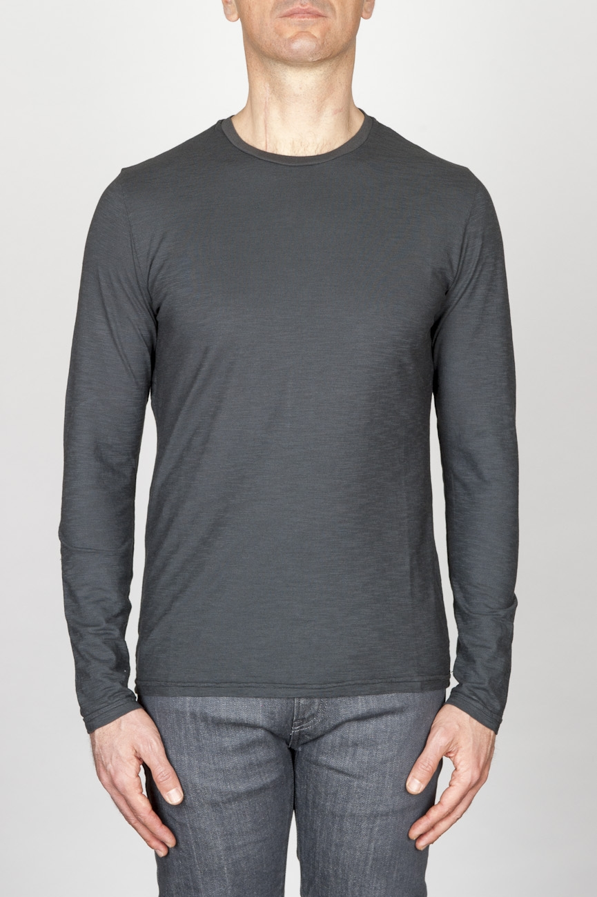 SBU - Strategic Business Unit - Classic Long Sleeve Flamed Cotton Round Neck Grey T-Shirt