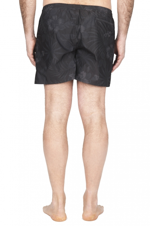 SBU 01762_2020SS Tactical swimsuit trunks in black floral print ultra-lightweight nylon 01