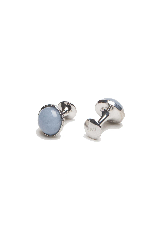 SBU 01009_2020SS Classic silver and angelite mineral handmade cufflinks 01