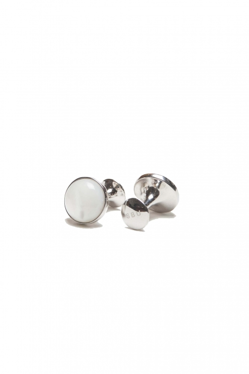 SBU 01014_2020SS Gemelli classici fatti a mano in argento e madreperla australiana 01