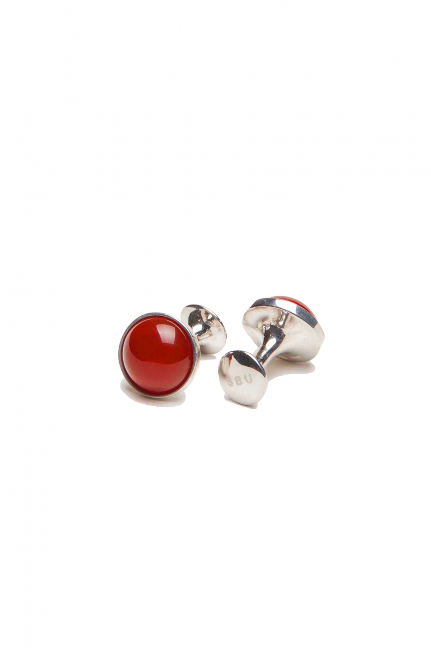 SBU 01017_2020SS Classic silver and coral handmade cufflinks 01