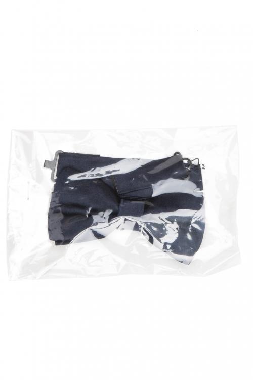 SBU 01032_2020SS Papillon annodato in raso di seta blu 01