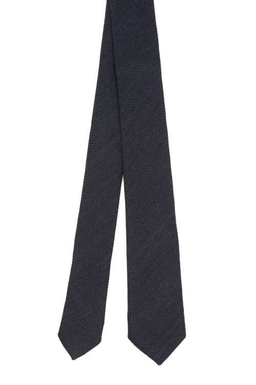 SBU 01569_2020SS Classic skinny pointed tie in black wool and silk 01