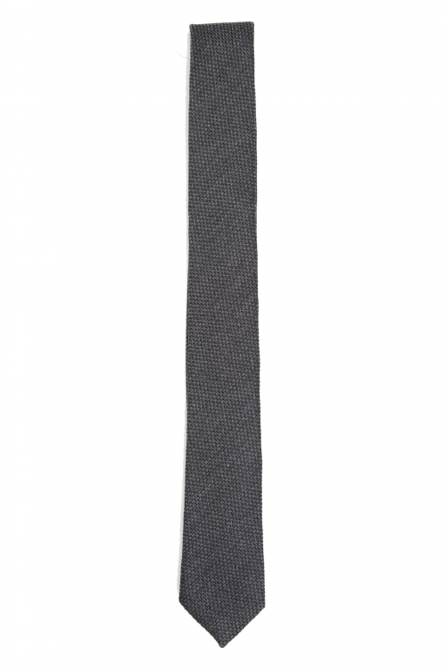 SBU 01570_2020SS Corbata clásica de punta fina en lana y seda gris 01