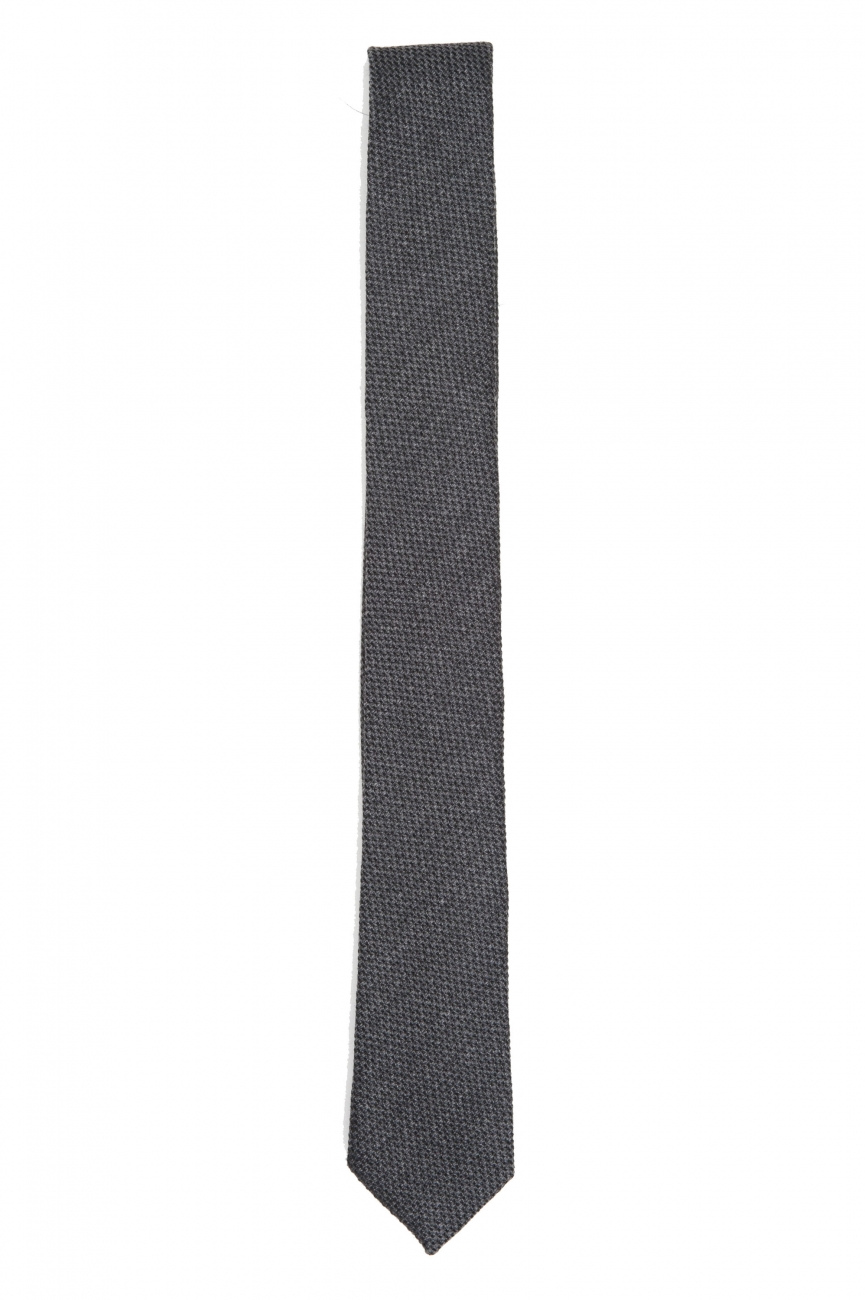 SBU 01570_2020SS Classic skinny pointed tie in grey wool and silk 01