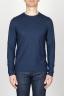 SBU - Strategic Business Unit - T-Shirt Girocollo Classica A Maniche Lunghe In Cotone Fiammato Blue