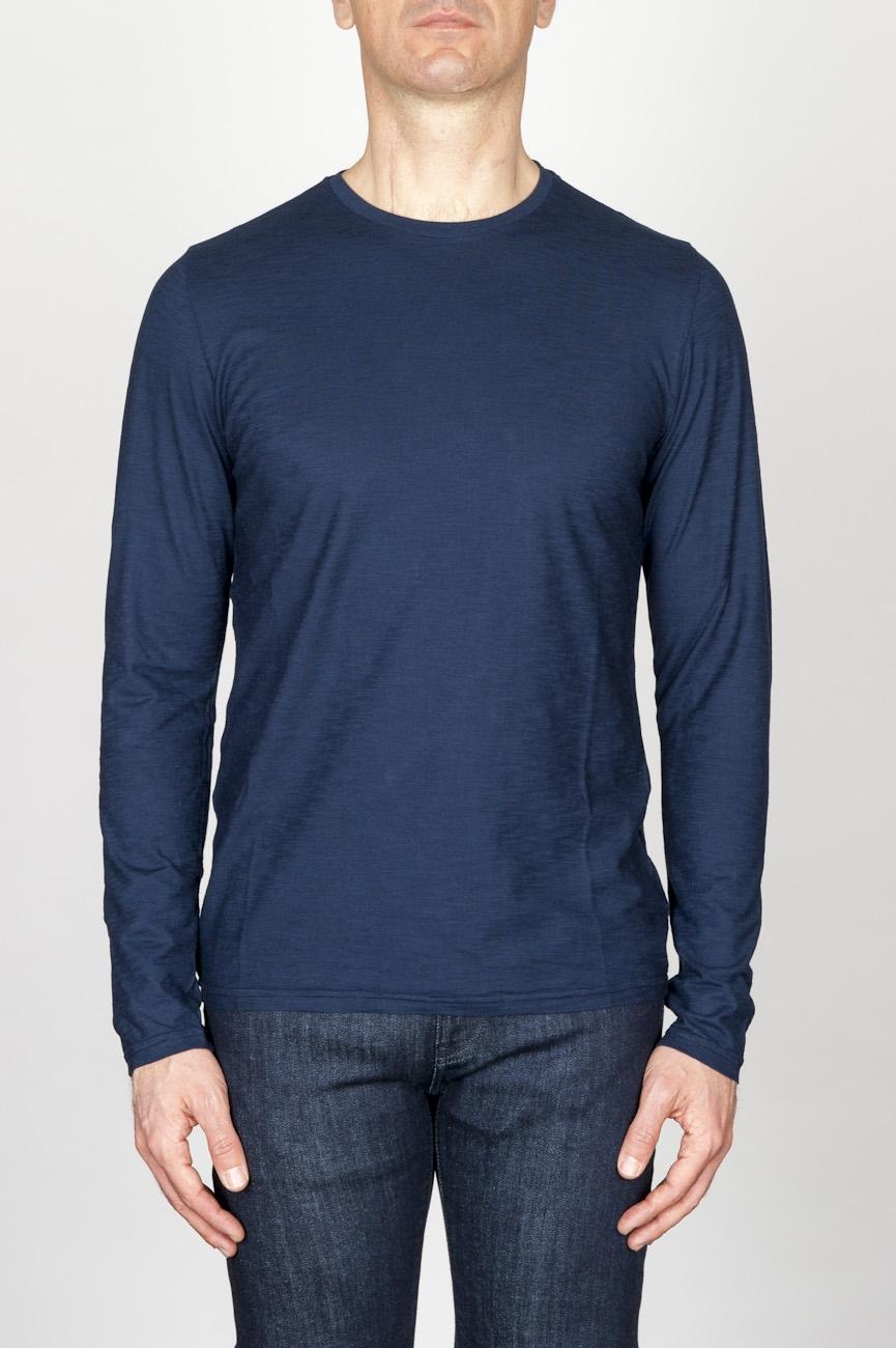 SBU - Strategic Business Unit - 古典的な長袖のコットンラウンドネックブルーTシャツ