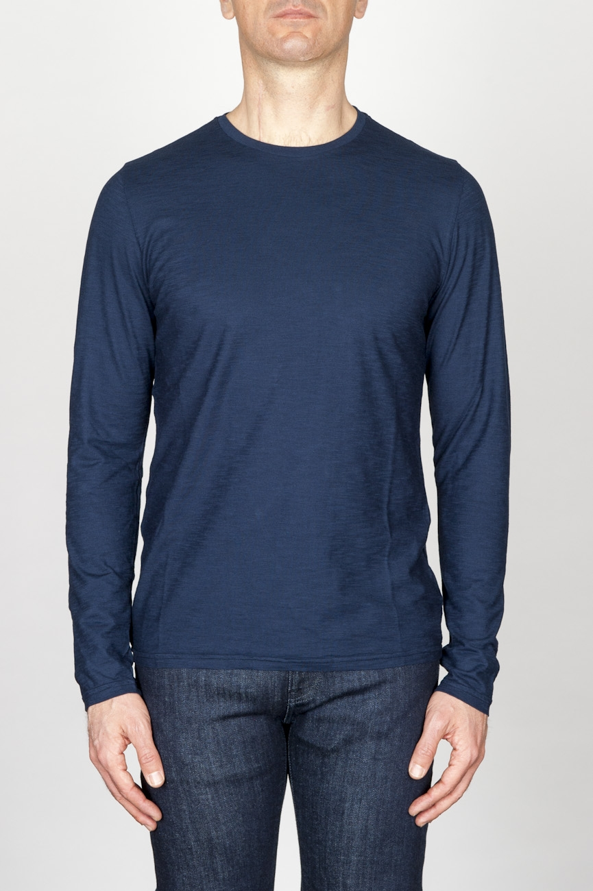 Classic Long Sleeve Flamed Cotton Round Neck Blue T-Shirt