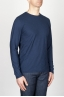 SBU - Strategic Business Unit - Classic Long Sleeve Flamed Cotton Round Neck Blue T-Shirt