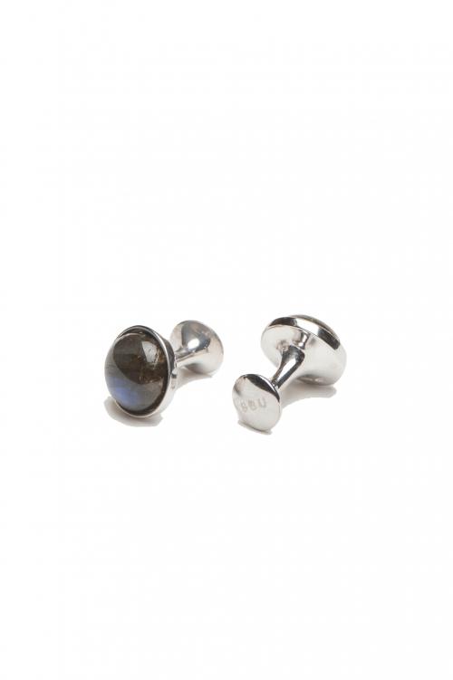 SBU 01012_2020SS クラシックな銀とラブラドライトの手作りカフスボタン 01
