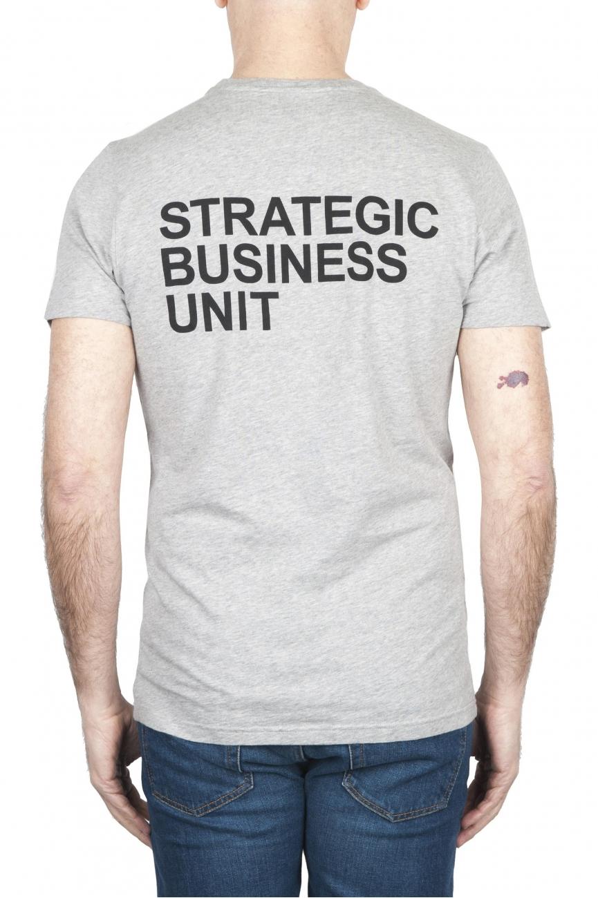 SBU 01793_2020SS Camiseta gris mélange de cuello redondo estampado a mano 01