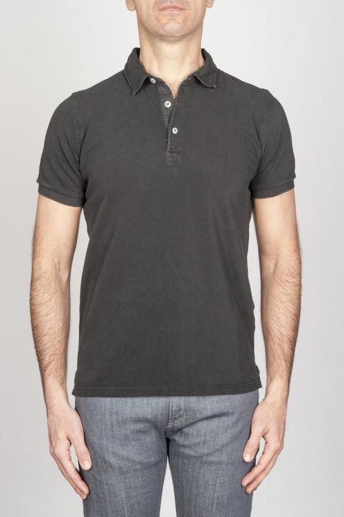 Classic Short Sleeve Stone Washed Black Pique Polo Shirt
