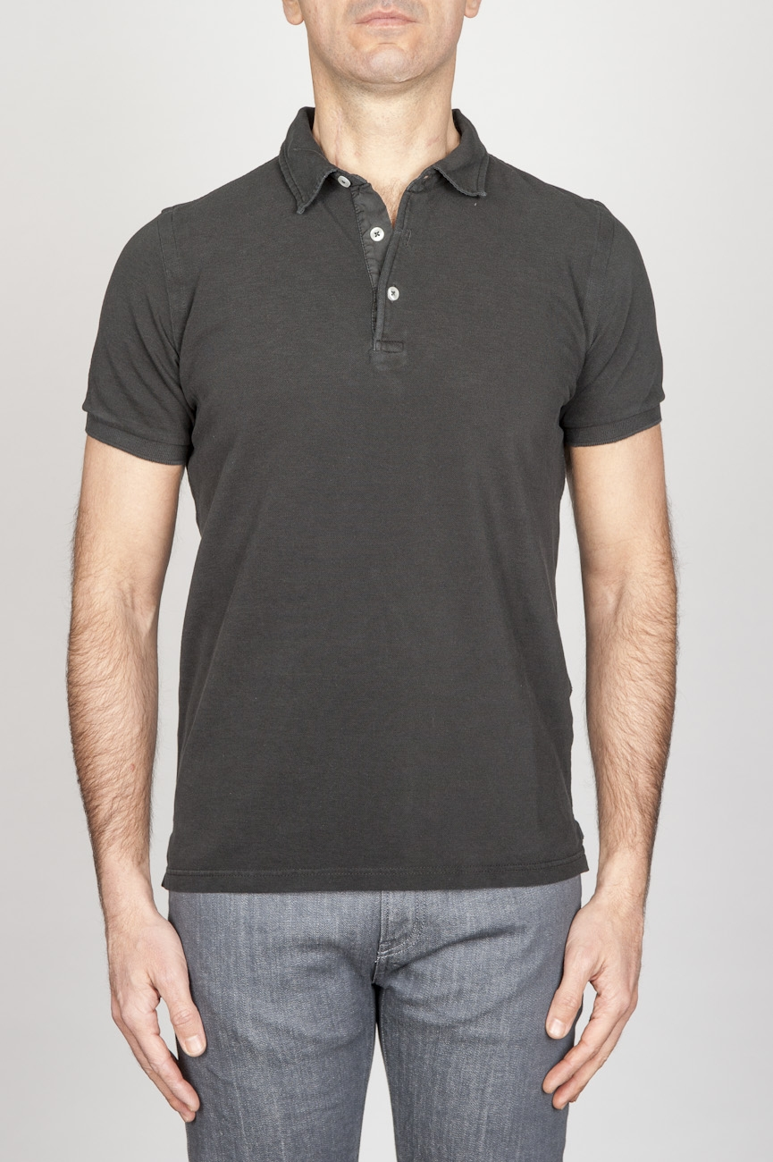 Classic Short Sleeve Stone Washed Black Pique Polo Shirt