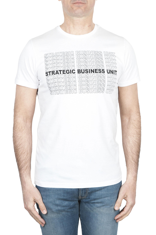 SBU 01803_2020SS Round neck white t-shirt printed by hand 01