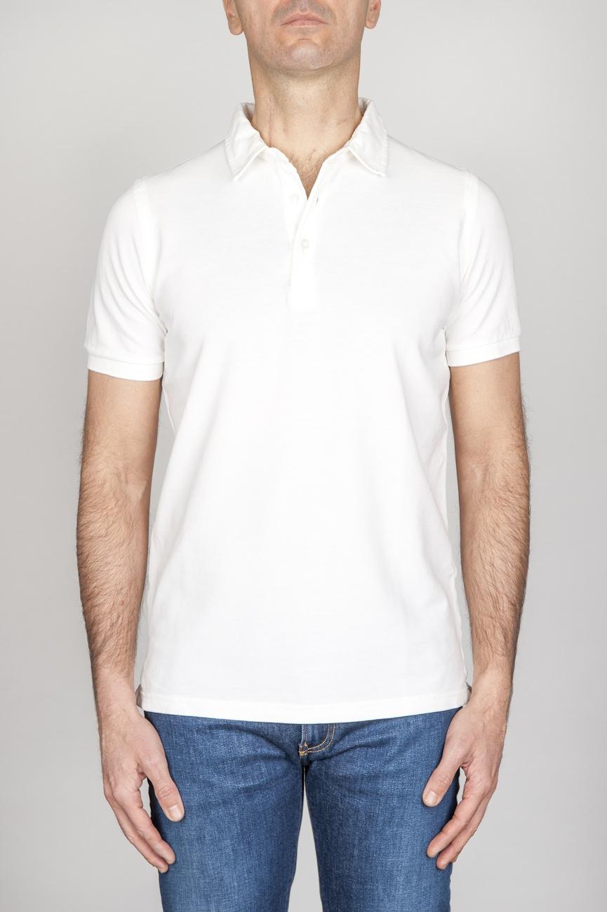 SBU - Strategic Business Unit - Classic Short Sleeve Stone Washed White Pique Polo Shirt