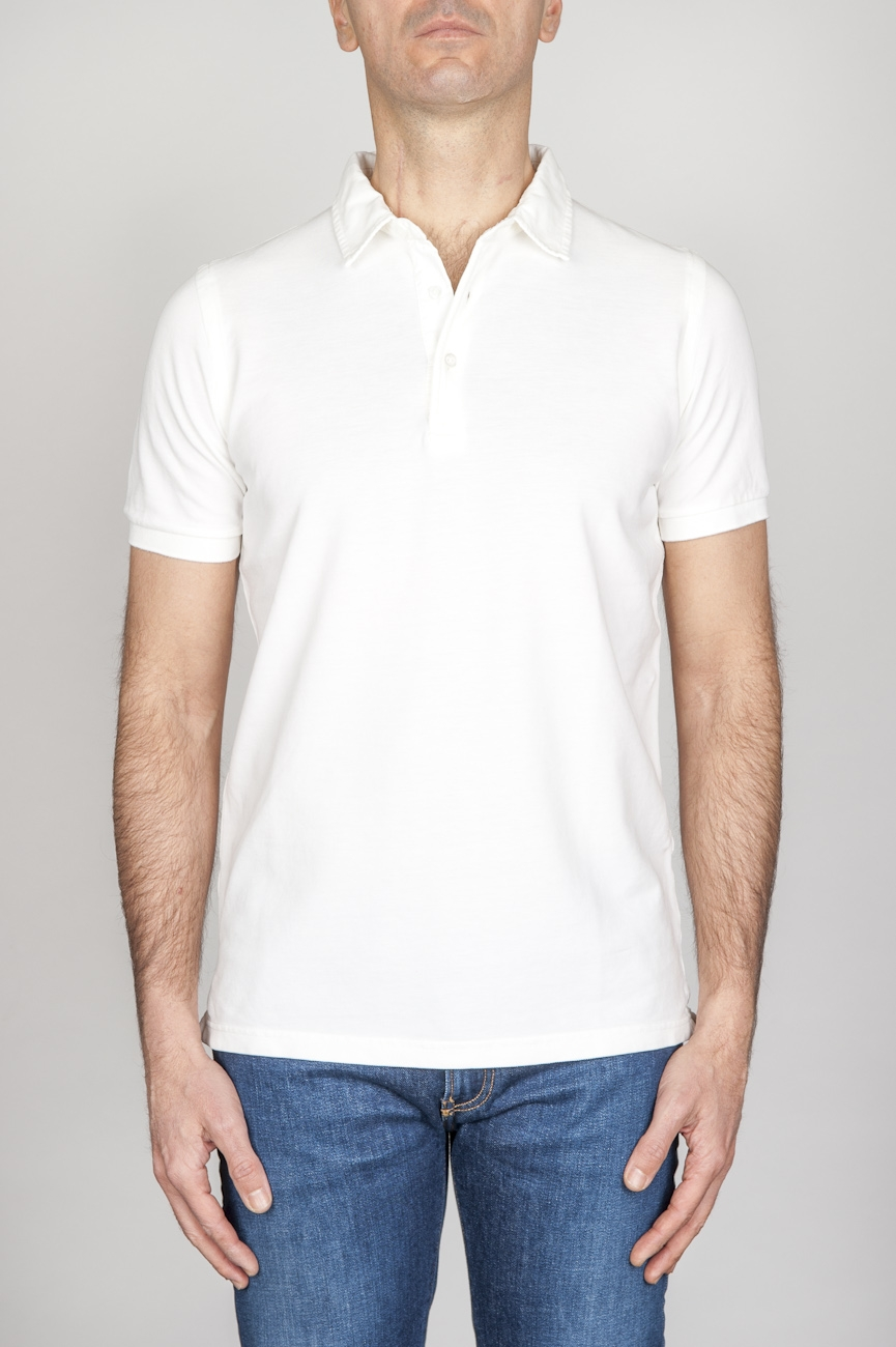 SBU - Strategic Business Unit - Classic Short Sleeve Stone Washed White Pique Polo Shirt